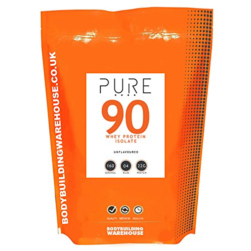 Bodybuilding Warehouse Pure Whey Protein Isolate 90 Powder Unflavoured 4 kg 4Kg