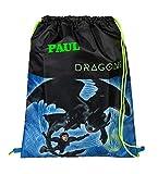Turnbeutel mit Namen | Motiv Dragons Drachen in blau & schwarz | personalisiert & Bedruckt |...