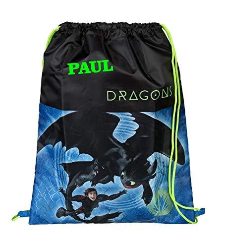 Gymtas met naam | Motief Dragons Dragon Draak in blauw & zwart | gepersonaliseerd & bedrukt | Schoentas sporttas jongens kinderen