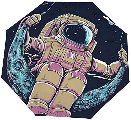 Opvouwbare paraplu astronaut schommels op de maan auto paraplu open dicht winddichte paraplu lichtgewicht compacte outdoor paraplu's zon & regen