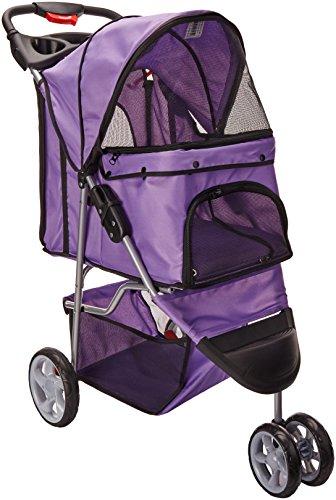 OxGord 3 Wheeler Elite Jogger Pet Stroller Cat/Dog Easy Walk Folding Travel Carrier, Lavender Purple