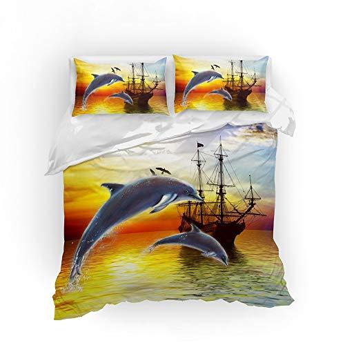 FDCSYP Beddengoedset, zacht, microvezel, retro-stijl, comfortabel, dolfijn, dierenprint, dekbedovertrek met kussen GB Super King 260cm×220cm