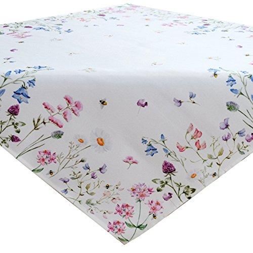 heimtexland ® Tisch Dekoration Serie Blumen Weiß Bunt Tischdecke Mitteldecke 85x85 Blumenwiese Mehrfarbig Typ520
