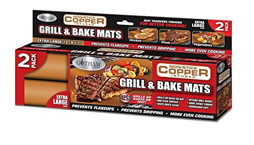 Gotham Steel Reusable Non-Stick Copper BBQ Grill & Baking Mats – –, 2 Pack,