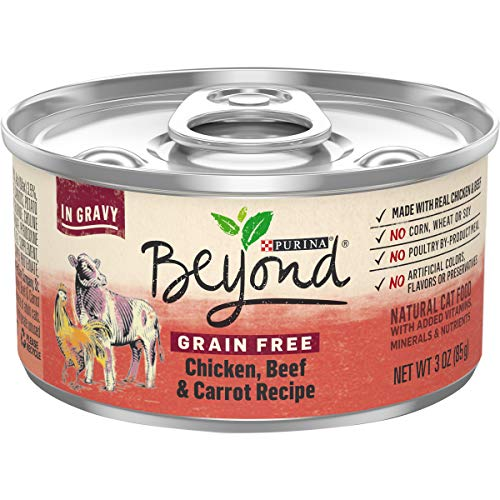 Purina Beyond Grain Free, Natural Gravy Wet Cat Food, Grain Free Chicken, Beef & Carrot Recipe - (12) 3 oz. Cans