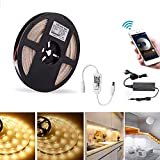 Sumaote 16.4ft Dimmable Led Strip Lights Kit, 300 Units 2835 LEDs, 12V Waterproof IP65 Warm White Under Cabinet Lighting Strips, WiFi Wireless Controlled by Smart Phone APP