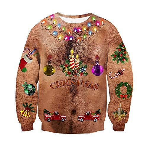 chicolife Unisexo Adolescente Niños niñas 3D navideño Suéter Navidad Regalo Colorida Decoración Pullover Slim Fit para Hombres Mujeres Regalo del Festival 🔥