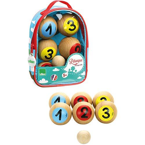 VILAC - jouet en bois - Jeux de plein air - Jeu de Pétanque 1, 2, 3 en Sac - 4053