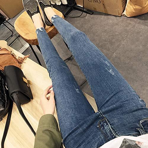 YSDSBM Jeans Ripped Skinny High Waist Women Slim All-Match Pencil Retro Womens Elasticity Casual Elegant Denim Pantalones Estudiantes
