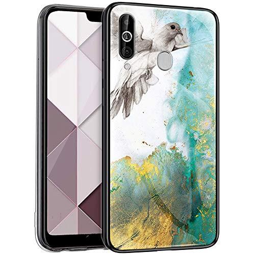 Surakey - Carcasa para Samsung Galaxy M30, ultradelgada y delgada de cristal templado con marco de TPU resistente a los arañazos y a los golpes, Mármol A
