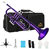 EASTROCK Trumpet Standard Brass Bb Purple Trumpet Instrument with Carrying Case,Trumpet Stand,Gloves, 7C Mouthpiece and Cleaning KIt for Student Beginner