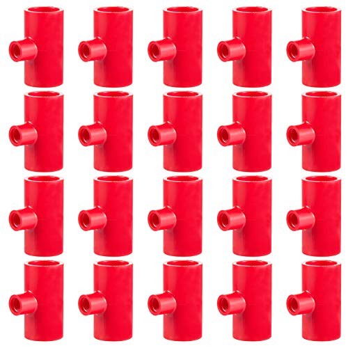 MEWTOGO Pack of 20 Chicken Waterer PVC Tee Fittings- Fully Automatic Poultry Waterers PVC Fittings for Threaded Poultry Nipples Chicken Water Drinker and Feeder Cups (Red)