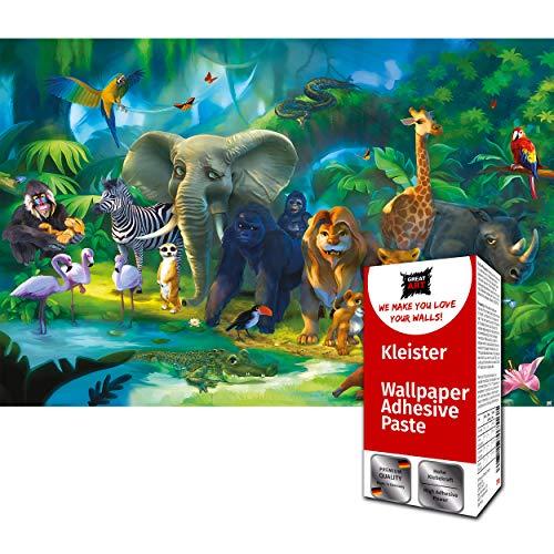 GREAT ART Fototapete Dschungel Tiere 336 x 238 cm – Kinderzimmer Jungen Mädchen Regenwald Abenteuer Cartoon Comic Wandtapete Dekoration Wandbild – 8 Teile Tapete inklusive Kleister