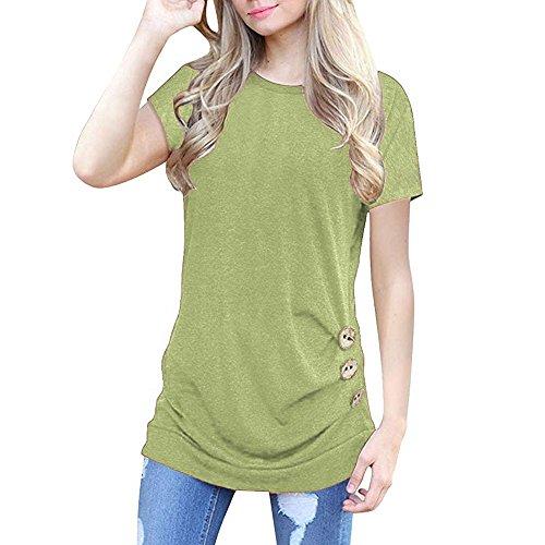ESAILQ Frau 3/4 Ärmel Schlank V-Ausschnitt Tasten Shirt (XXL,Beige)