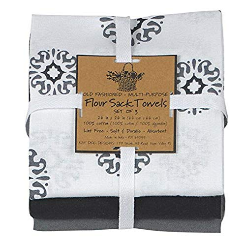 Kay Dee Designs Caf Express Collection Medallion Flour Sack Cotton Towels, 26-Inch by 26-Inch, Charcoal, Set of 3 (A8310)