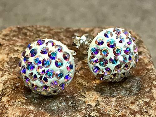 Silber Swarovski Kristalle mit 925 Sterling Silber Ohrstecker Ohrringe Ohrhänger Aurore Boreale Regenbogen Cabochon Pave