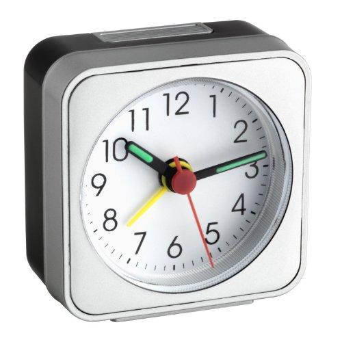 TFA Dostmann 60.1019 analoge wekker, analoge weergave, stil uurwerk, 10,6 x 6,6 x 4 cm, zilver/wit