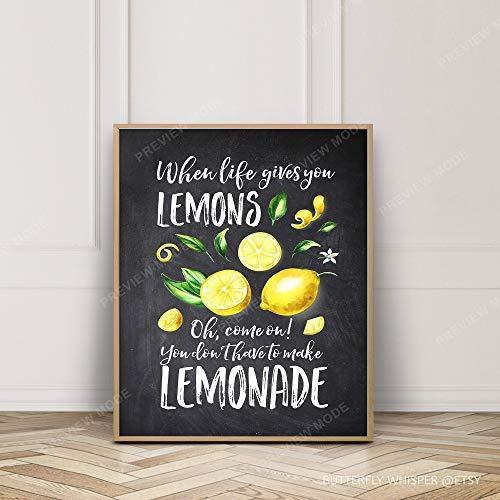 Ced454sy Arvier wanneer het leven geeft u citroenen niet maken limonade humoristische muur kunst afdrukbaar krijtbord teken cadeau idee grappige keuken bar Quote Decor ingelijst muur kunst