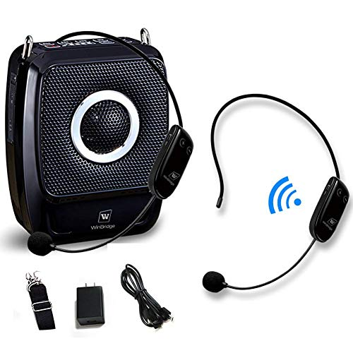 Portable PA System with 2 Wireless Headset Mics, 25W Rechargeable Microphone with Speaker Amp Mini Voice Amplifier Music System for Teacher Classroom Meeting Party ect