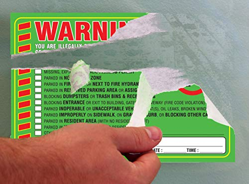 """Parking Violation Stickers Notice (Pack of 50) Tow Warning You are Illegally Parked Multi Reasons - Large Size 6"""" X 9"""" – Green Photo #4"""