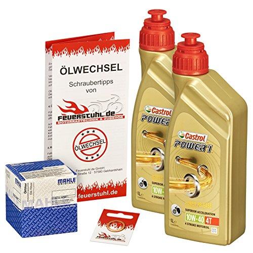 Preisvergleich Produktbild Castrol 10W-40 Öl + Mahle Ölfilter für Honda XBR 500 / S,  85-89,  PC15 - Ölwechselset inkl. Motoröl,  Filter,  Dichtring