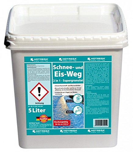 HOTREGA Schnee und Eis Weg 2in1 - Supergranulat 5L - Taumittel, Auftaugranulat, Streumittel - Bis zu 250 m²