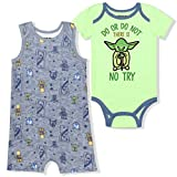 Lucasfilm Baby Yoda 2 Pack Baby Boy's No Try Romper and Onesie Set, Green/Blue, 0-3 Months