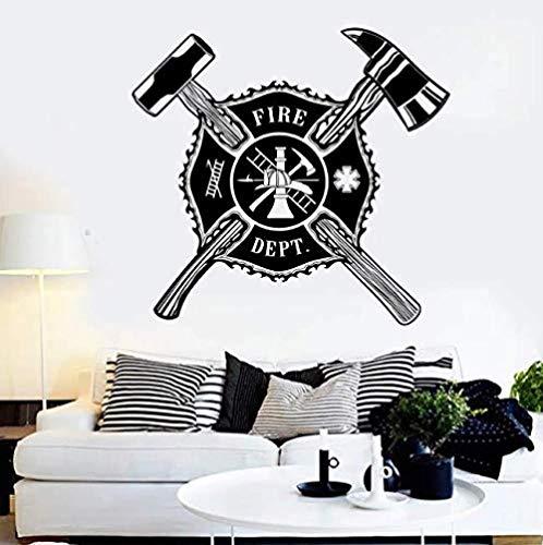 Adesivi murali vigili del fuoco Decorazioni per la casa per vigili del fuoco Adesivo per scala con martello antincendio significa protezione della difesa 60 * 57C m
