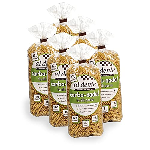 Al Dente Carba-Nada Fusilli, Reduced Carb, High Protein Pasta, 72 Ounce, Pack of 6