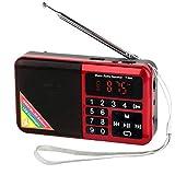Totento Mini Radio Portátil FM Digital Recargable 1500mAh con Linterna LED y Reproductor MP3 en Disco USB Micro SD AUX, Auricular Jack (Rojo)