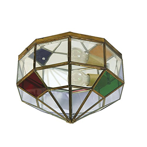 Plafón Granadino Artesanal Modelo Galera 7078/1EVTC (Envejecido -Cristal Transparente Color)