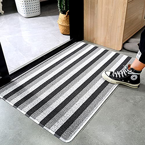YuYiY Alfombras antisuciedad resistentes al desgaste, antideslizantes para interiores y exteriores, para entrada de suelo, a rayas, para puerta delantera, escalera corredor (C,45 x 75)