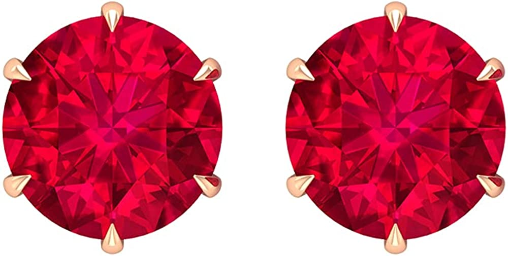 Simple Stud Earrings, Solitaire Earrings For Women 14K Solid Gold Screw Back