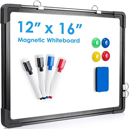 Small Dry Erase White Board, ARCOBIS 12' x 16' Magnetic Hanging Double-Sided Whiteboard for Wall, Portable Mini Easel Board for Kids Drawing, Kitchen Grocery List, Cubicle Planning Memo Board(Black)