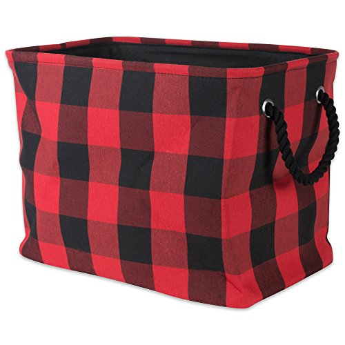 DII Buffalo Check Storage Collection Collapsible Bin with Handle, Medium, Red & Black