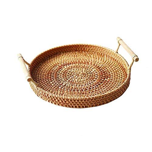 GYDJ 3 Size Breakfast Hand-Woven Bread with Handle Round Basket Rattan Tray Wicker Basket Storage Bread Basket Storage Basket Kitchen Bread Box(L)