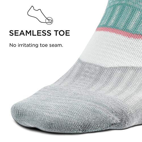 Feetures Elite Ultra Light No Show Tab Sock Thin Stripe (Large, Soft Moss)