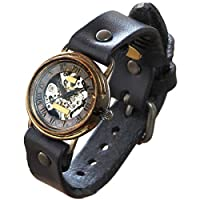 渡辺工房 手作り腕時計 裏スケルトン 手巻き式 メンズブラス ローマ数字 (受注制作) [NW-BHW063] (ブラウン)