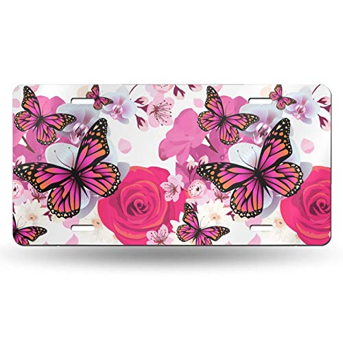 Delerain License Plate Aluminum, Orchid Butterfly Car Tag Cover Metal Front License Plate Novelty Auto Home Decoration for Men Women 6 x12 Inch
