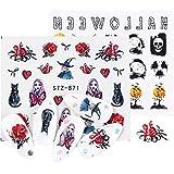 ZHAOZX 1 Pcs Stickers Ongles Halloween Crâne Nail Art Autocollants Flowes Bande...