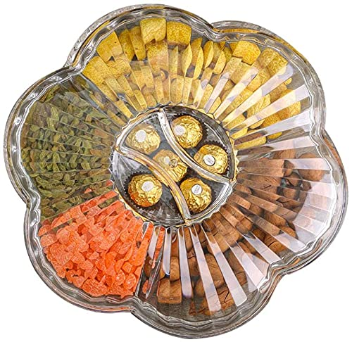 MJMJ fruit dish Fruit Bowls,With Lid Tray Living Snack Room Acrylic Compartment Candy Box Can Be Stored Candy/Peanut/Dried Fruit Fruit basket