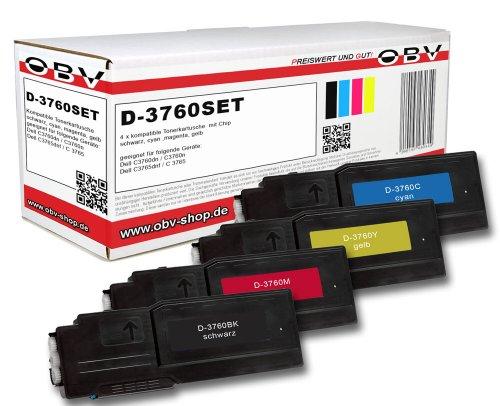 OBV 4 x kompatibler Premium Toner für Dell C3760dn C3760n C3765dnf C3760 C3765 Serie schwarz,Cyan,Magenta, gelb