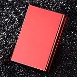 メンズタバコケース超薄型携帯用アルミ合金のスライド式ふた式自動蓋タイプタバコケースは、20個のタバコケースを保持できます。-8.8x5.8x2.1cm_赤