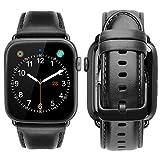 iBazal Compatible con iWatch Series 6 SE 5 4 Correa 44mm 42mm Cuero Piel Genuino Pulseras Brazaletes Bandas Reemplazo Series 3 2 1 Hombres Mujeres Reloj Inteligente Accesorios - Negro
