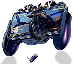 Premium 2019 Mobile Controller for Pubg, Fortnite and Shooting Games, Works on All Phones Such as iPhone, Samsung, Huawei, Pixel, Oneplus with Cooling Fan Non-Slip and Easy to use