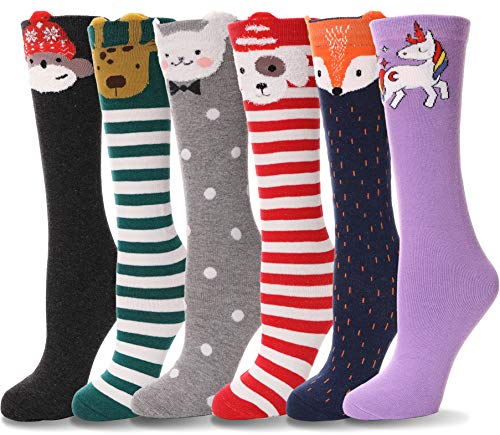 Girls Knee High Socks Cute Animal Pattern Soft Tall Novelty Long Cotton Boot Socks For Kid Child 6 Pack(6 Pairs Set B)