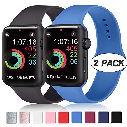 AK Cinturino Compatibile per Apple Watch Cinturino 44mm 42mm 38mm 40mm, Cinturino Sport in Silicone Cinturino Uomo e Donna per iWatch Serie 5 4 3 2 1 (Nero + Blu Zaffiro, 38/40mm S/M)