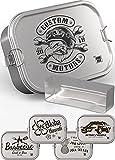 DUDE BOX Brotdose Edelstahl 1200ml   auslaufsicher & nachhaltig   Lunch Box Erwachsene mit Trennwand   Bento Box Butterbrotdose Brotbüchse mit Fächern (Custom Motors)