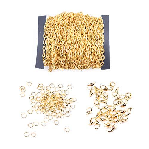 Zasiene Kettenband 91 Stück Ketten Gold Kettenglieder Schmuckherstellung Zubehör mit Sprung Ringe Karabinerverschlüsse für DIY Halskette Basteln,10m/1.5mm
