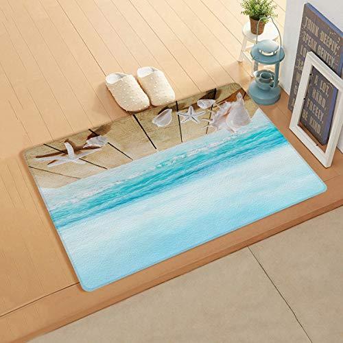 Knight Dream Teppich aus Kunstleder glatt – Holzplanken mit tropischen Muscheln und Seestern im Ozean-Motto für Schlafzimmer, Wohnzimmer, Moderne Heimdekoration, 45,7 x 119,4 cm